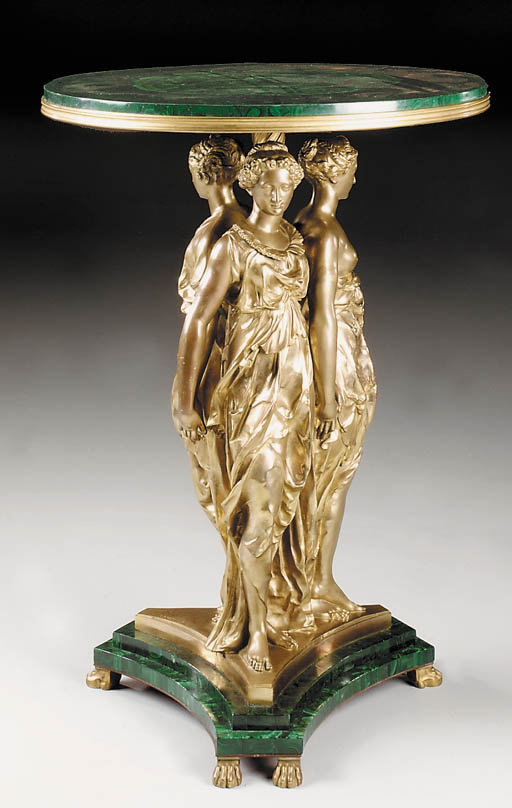 A French gilt-bronze and Malac