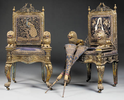A pair of Indian gilt- and silvered-metal thrones