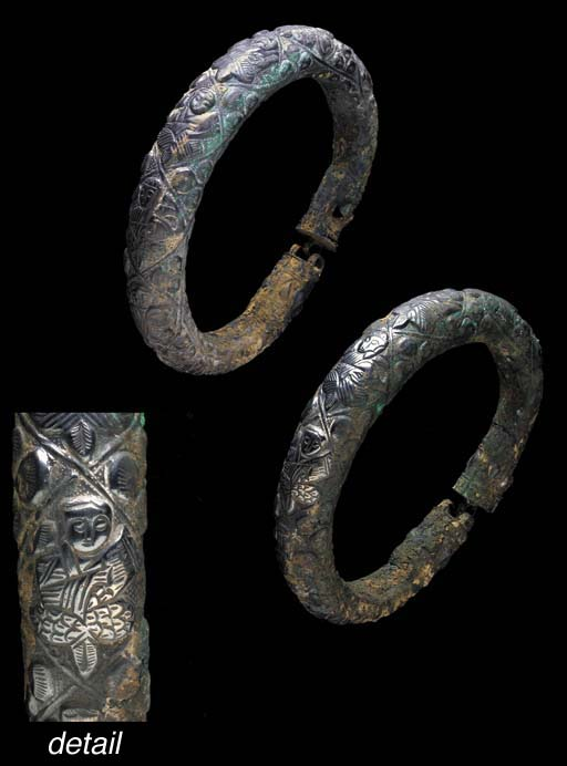 A PAIR OF FATIMID SILVER ARMLE