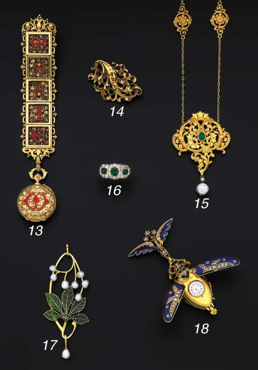 An Art Nouveau gold and pearl