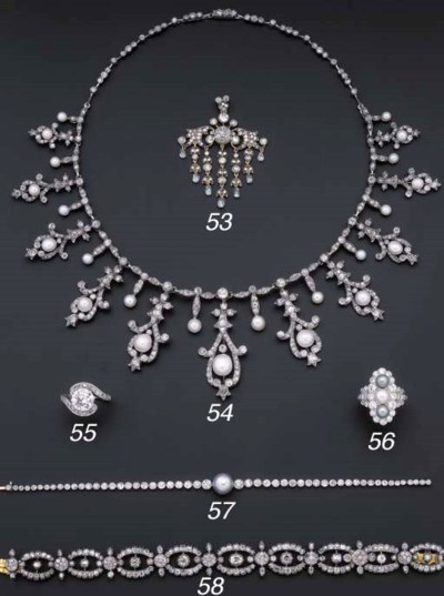 An Antique diamond and pearl f