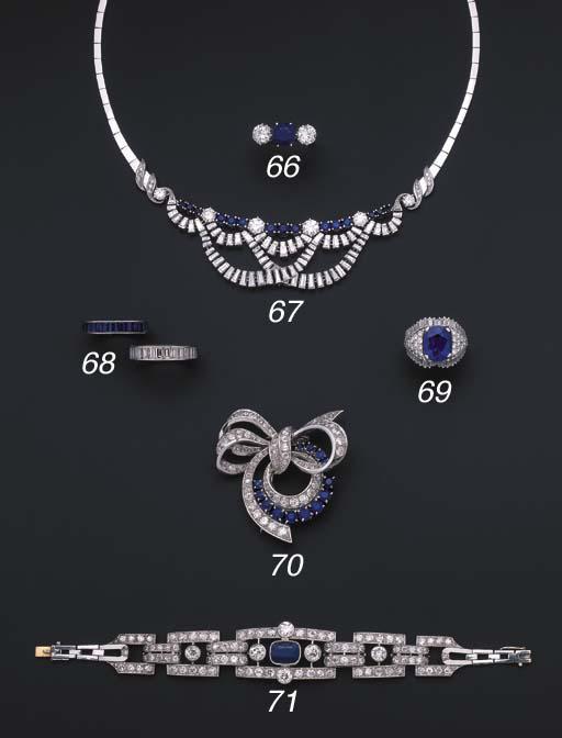 A sapphire and diamond bow bro
