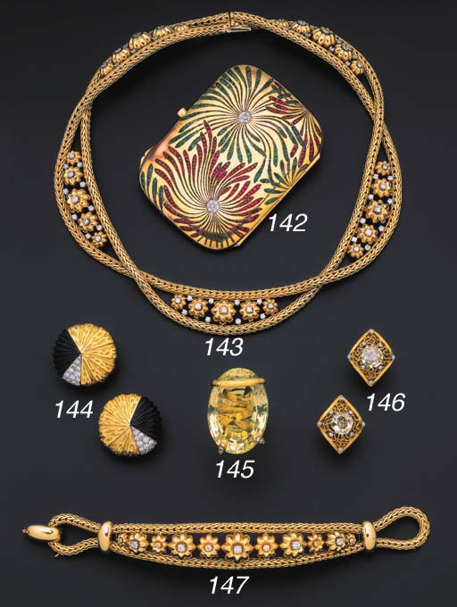 A group of diamond-set jewelle