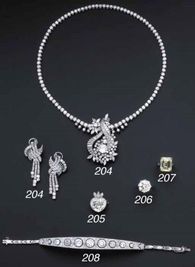 A heart-shaped diamond pendant
