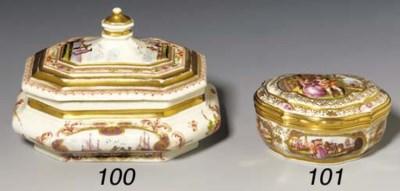 A Meissen gold-mounted cartouc