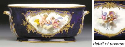 A Sevres two-handled blue-grou