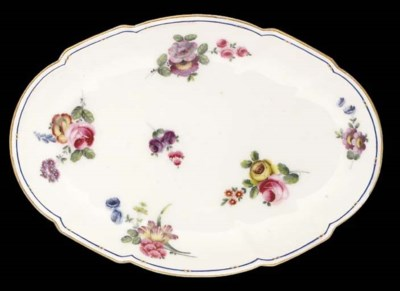 Seven Sevres shaped oval dishe