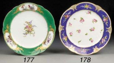 A Sevres green-ground plate
