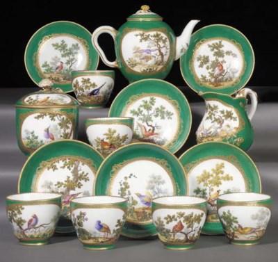 A Sevres green-ground part tea