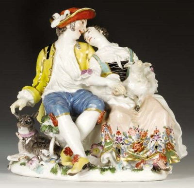 A Meissen group of the enamour