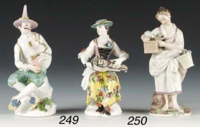 Two Meissen figures of Harlequ