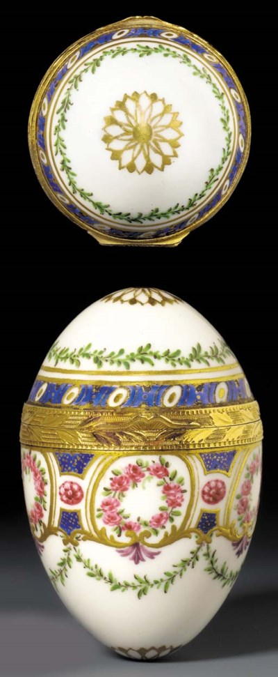 A Sevres gold-mounted oviform