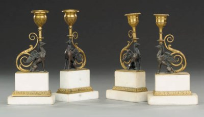 A SET OF FOUR GEORGE III BRONZ