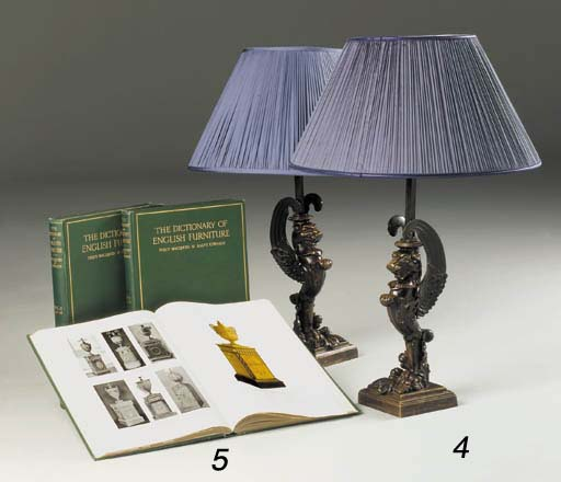 A PAIR OF REGENCY BRONZE LAMPS