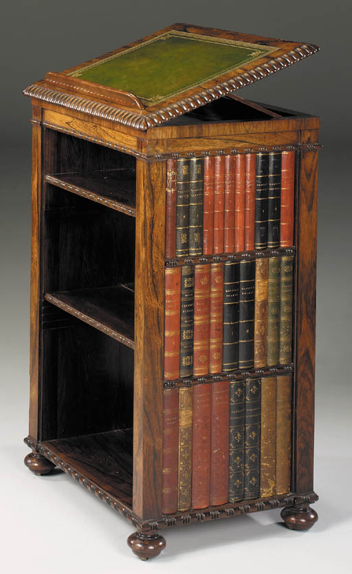 A REGENCY ROSEWOOD BOOKSTAND