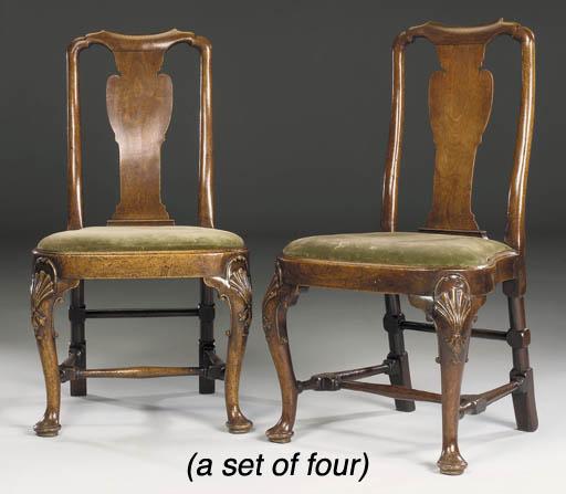 A SET OF FOUR GEORGE II MAHOGA
