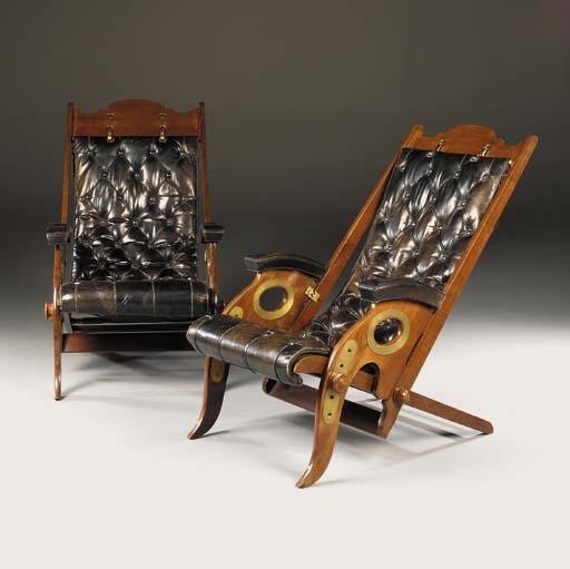 A Pair of Mahogany Folding Arm