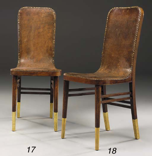 A Leather and Beech Side chair