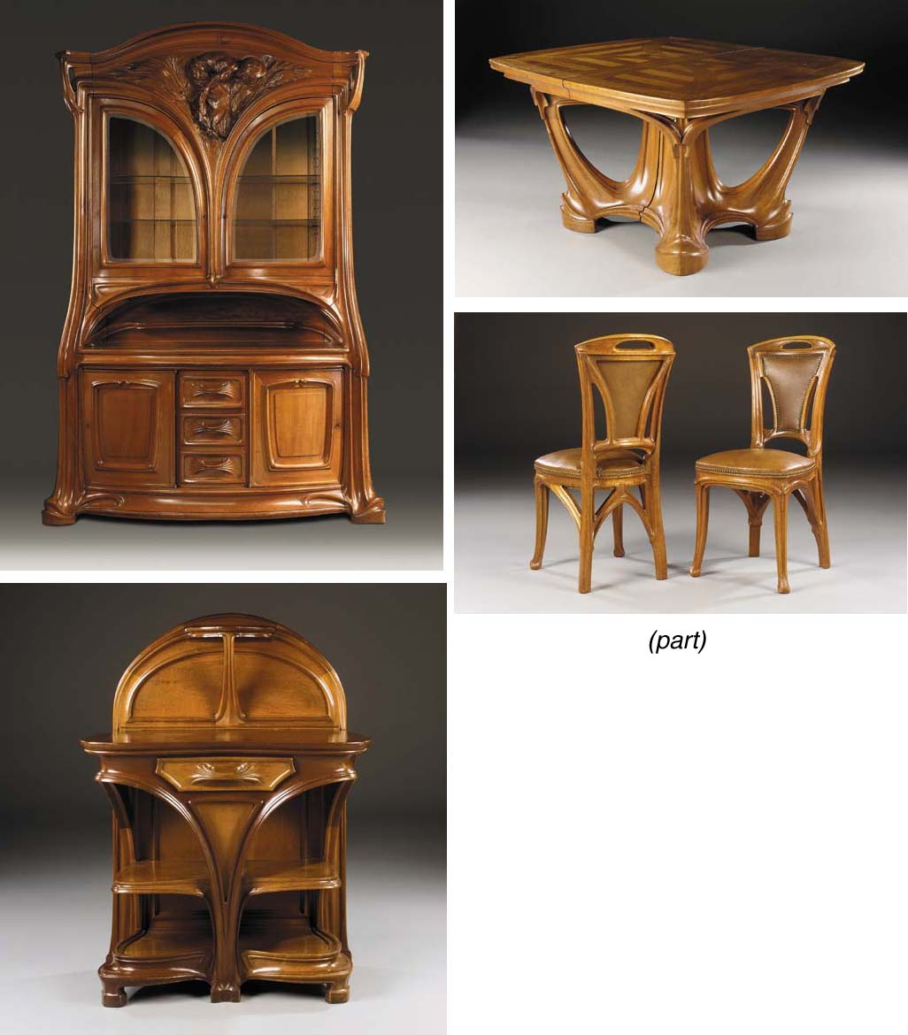 A Carved Walnut Dining Suite,