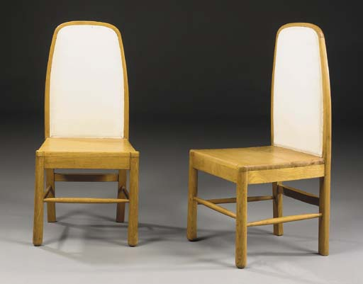 A Pair of Upholstered Oak Side