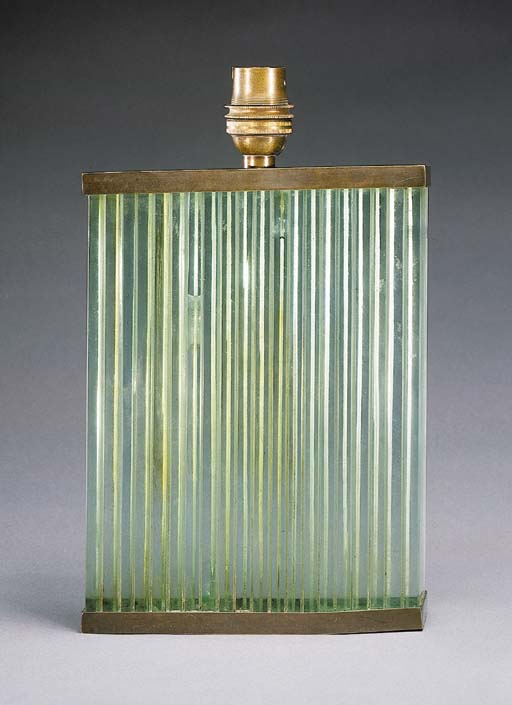 A Glass and Bronze Table Lamp