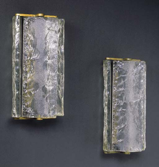 A Pair of Glass and Brass Wall