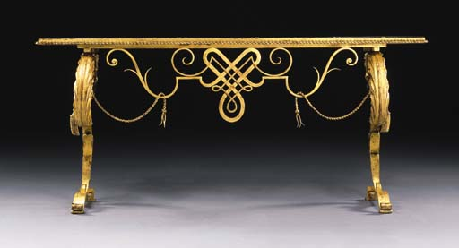 A Gilt Wrought Iron And Marble