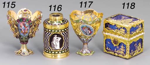 A GEORGE III ENAMELLED GOLD TE