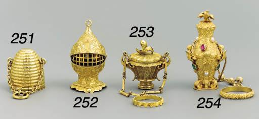 A gem and pearl-set gold penda