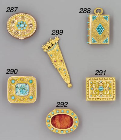 A gold, turquoise and ruby-set