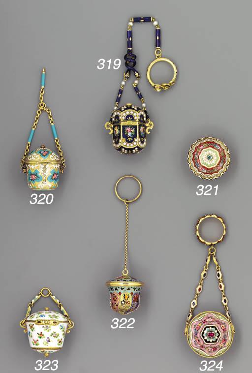 A gold and enamelled vinaigret