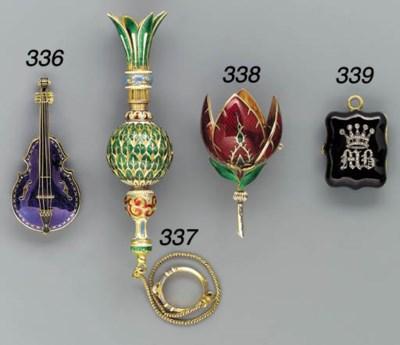 An enamelled and diamond-set g