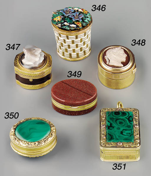 An ivory, gold and enamelled v