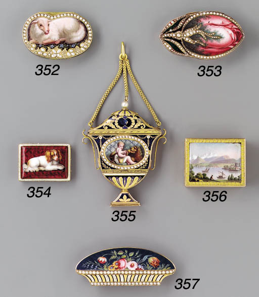 A Swiss enamelled and pearl-se