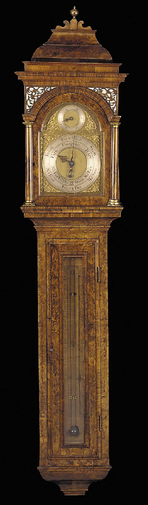 A GEORGE II BRASS-MOUNTED BURR-WALNUT AND WALNUT BAROMETER, HYGROMETER AND THERMOMETER