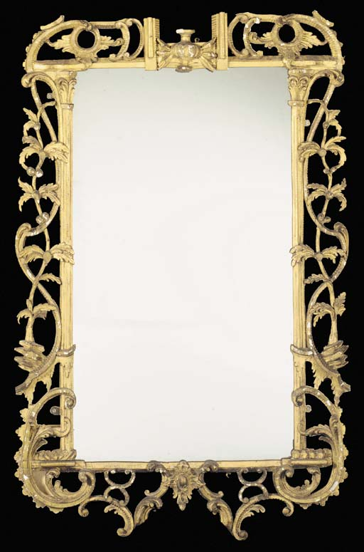 AN EARLY GEORGE III GILTWOOD MIRROR