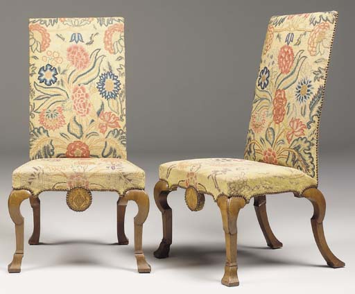 A PAIR OF GEORGE I WALNUT AND MARQUETRY SIDE CHAIRS