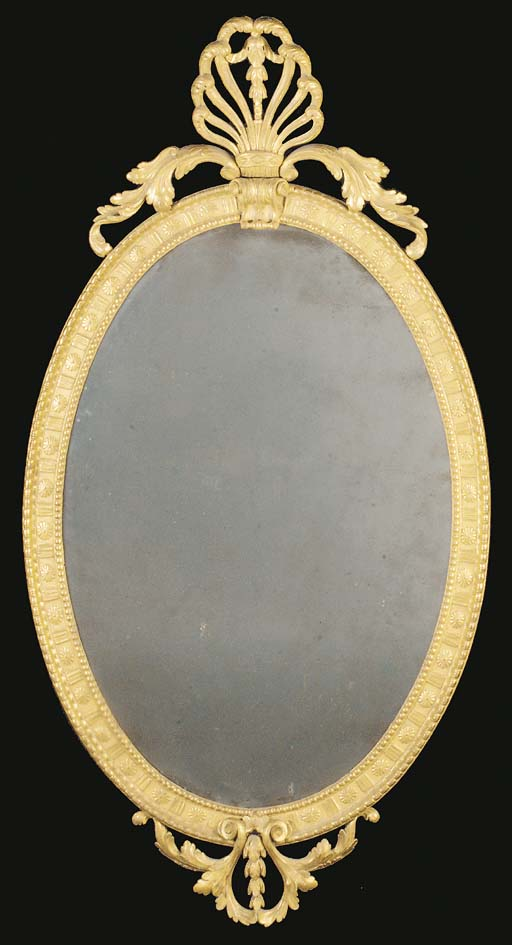 A GEORGE III OVAL GILTWOOD PIE