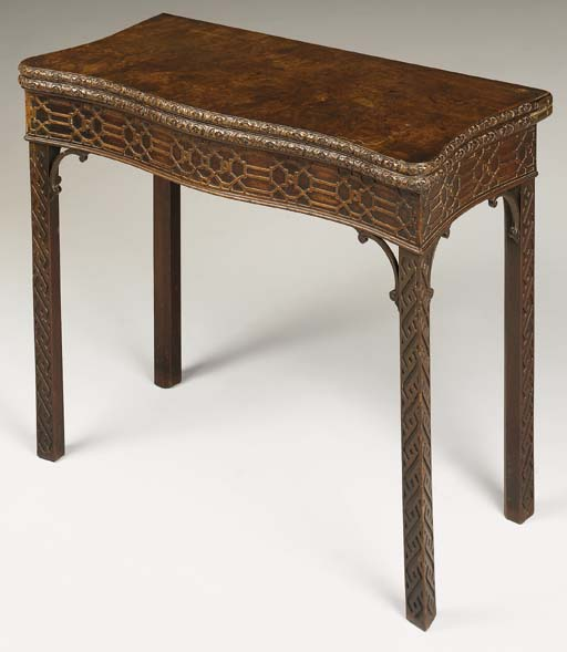 A GEORGE III MAHOGANY CARD-TABLE