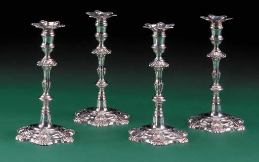 Four George II silver table ca