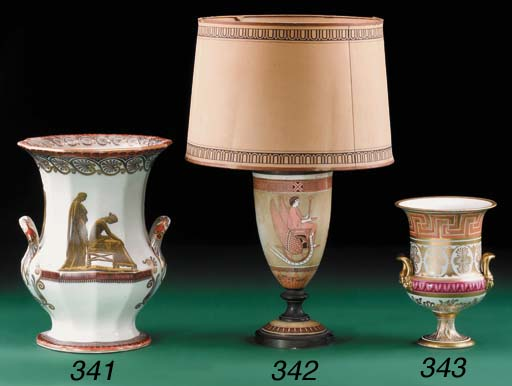 A pottery slender oviform lamp