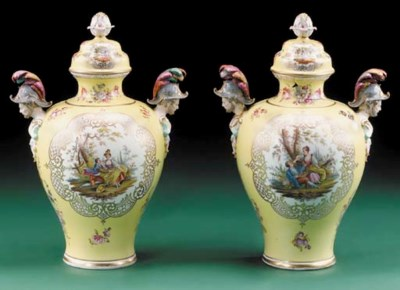 A pair of Dresden two-handled