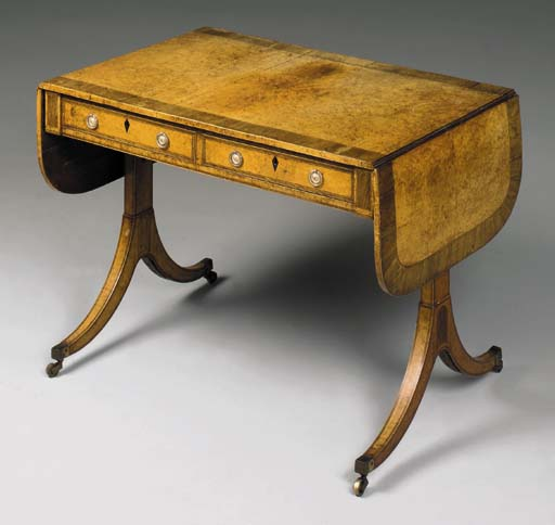 A REGENCY AMBOYNA AND ROSEWOOD