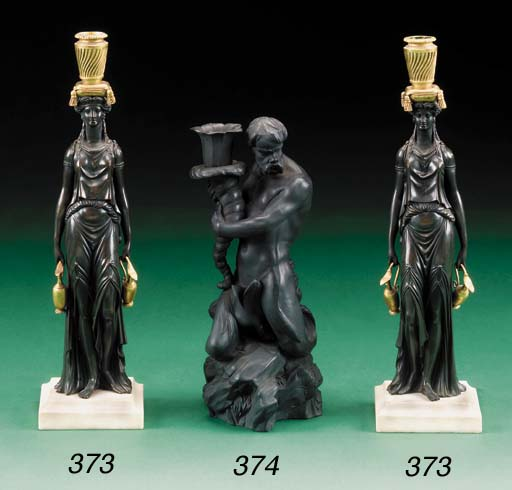 A PAIR OF GEORGE III BRONZE AN