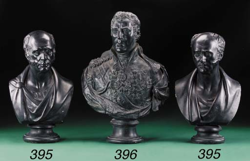 TWO BRONZED PLASTER BUSTS