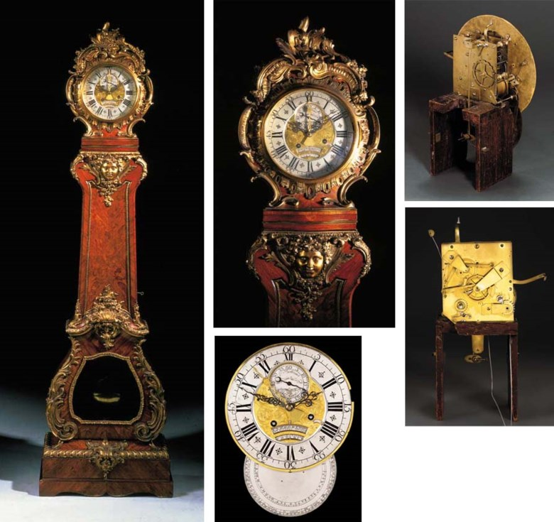 A Louis XV ormolu-mounted tulipwood and marquetry month-going regulateur de parquet with full calendar and equation of time, by Ferdinand Berthoud. The case by Balthazar Lieutaud. 86½ in (219 cm) high; 24¾ in (63 cm) wide; 12 in (30 cm) deep. Sold for £322,750 on 5 July 2001 at Christie's in London