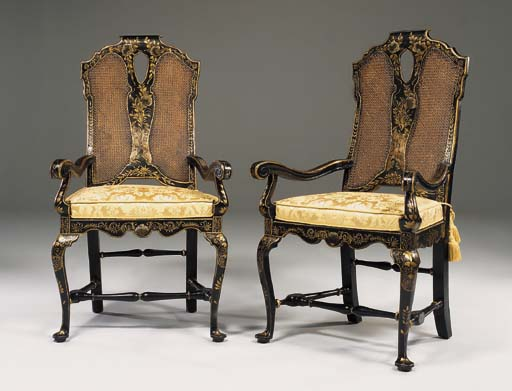 A PAIR OF QUEEN ANNE BLACK AND