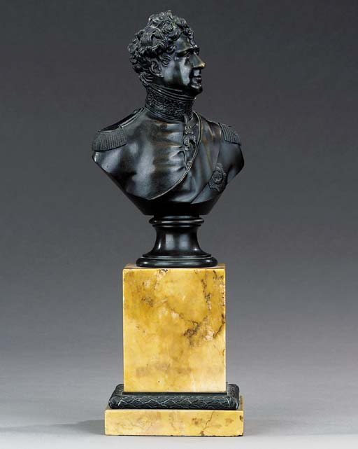 A BRONZE BUST OF GEORGE IV