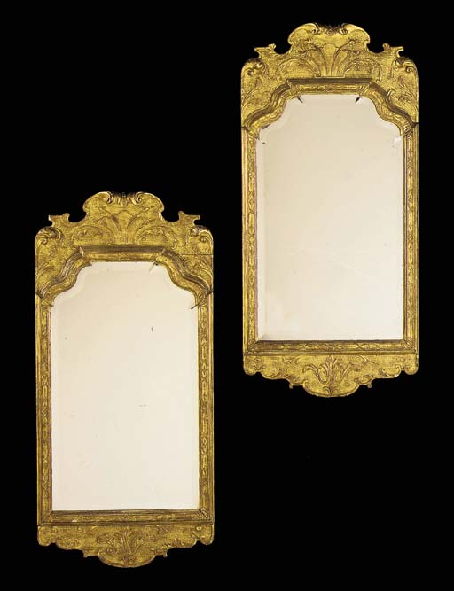 A PAIR OF GILT-GESSO MIRRORS