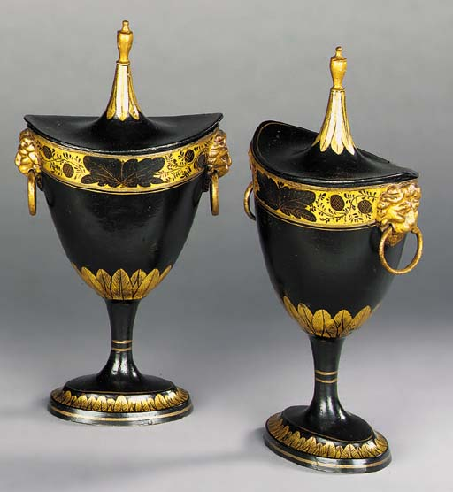 A PAIR OF REGENCY BLACK AND GI